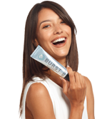 Model showing Burst whitening toothpaste